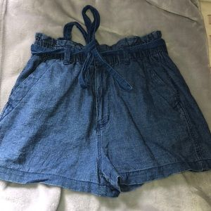 Denim paper bag short